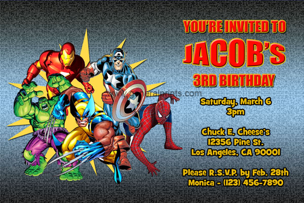 7 Images of Marvel Super Hero Invitations Free Printable