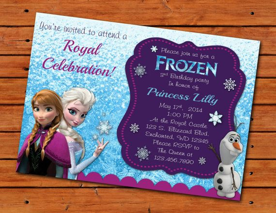 8 Images of Frozen Themed Birthday Invitations Printable