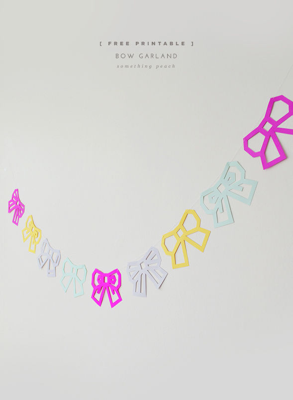 5 Images of Printable Bow Garland Template