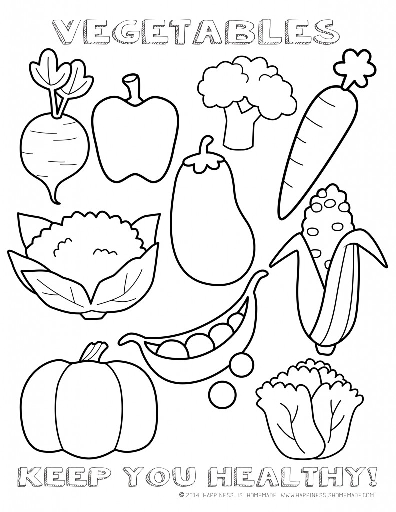 6 Images of Vegetables To Color Printable