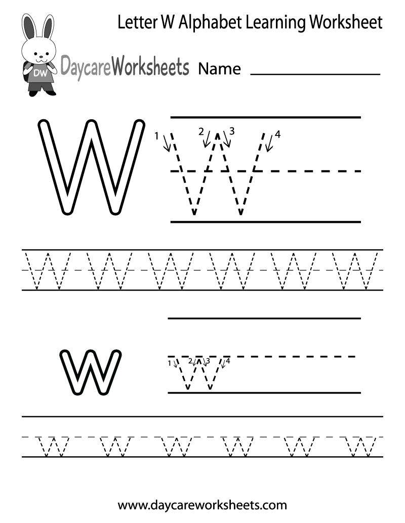 8 Images of Free Printable Preschool Worksheets Letter W