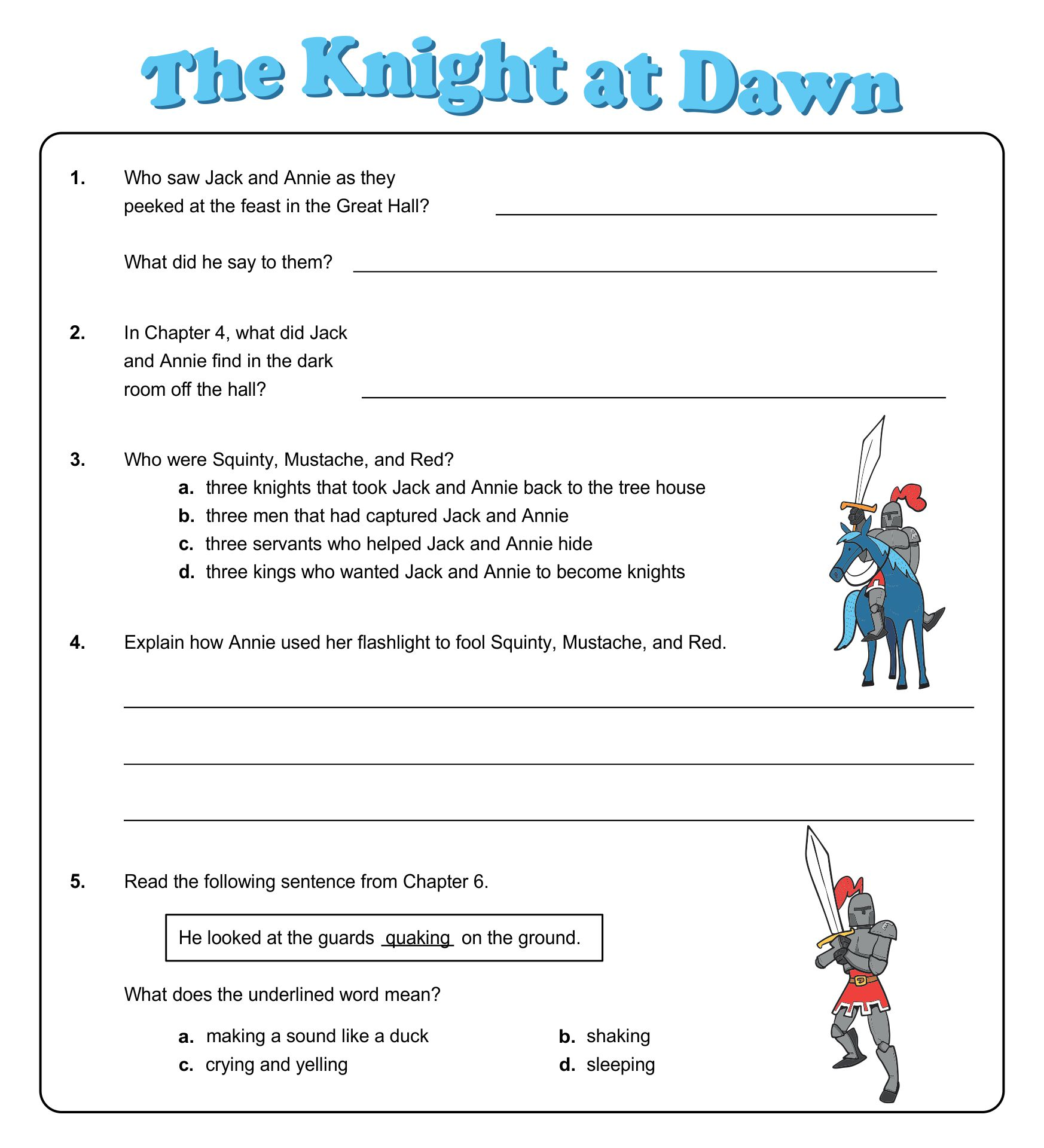 Magic Tree House Knight at Dawn Activities