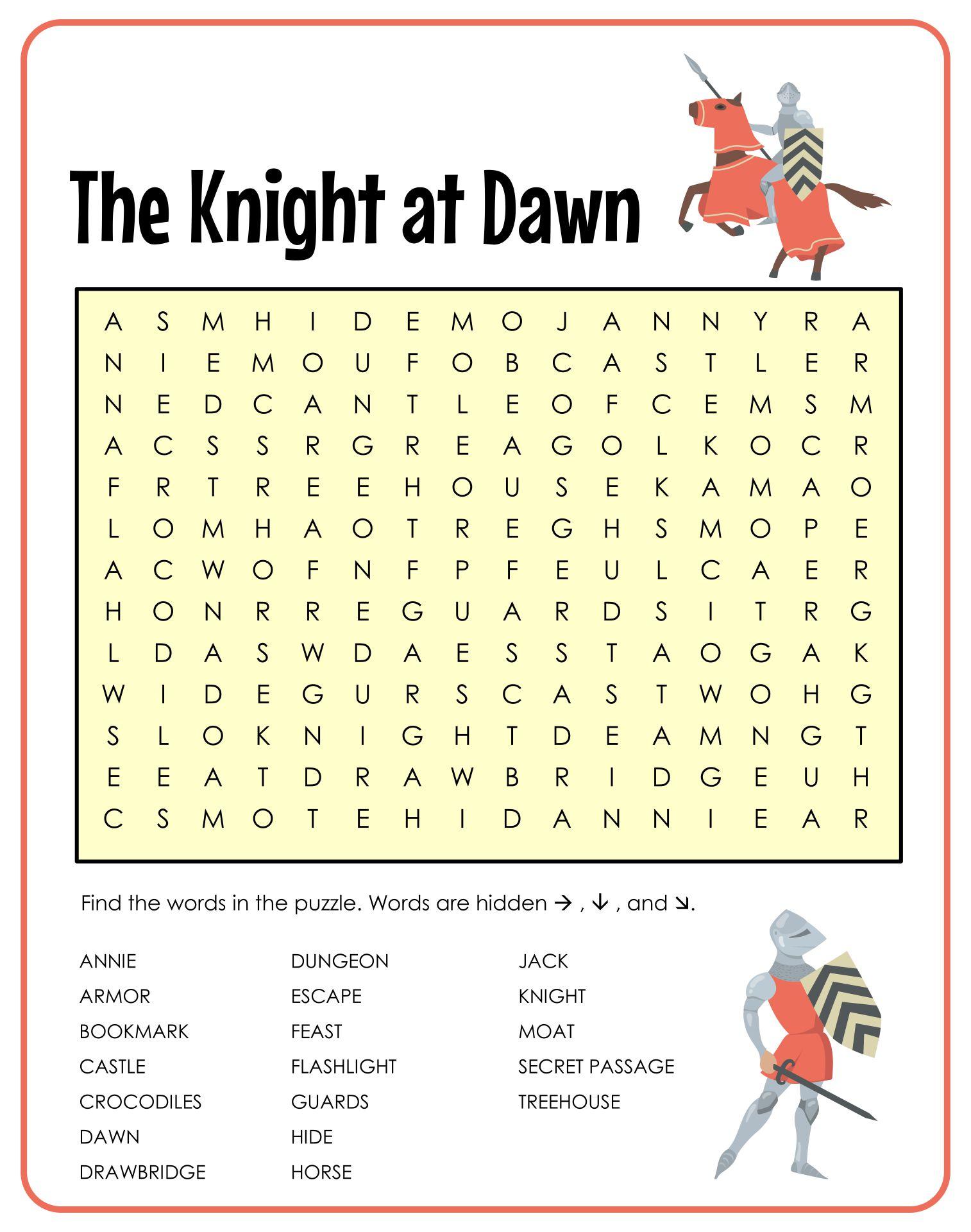 Magic Tree House Knight at Dawn Worksheets