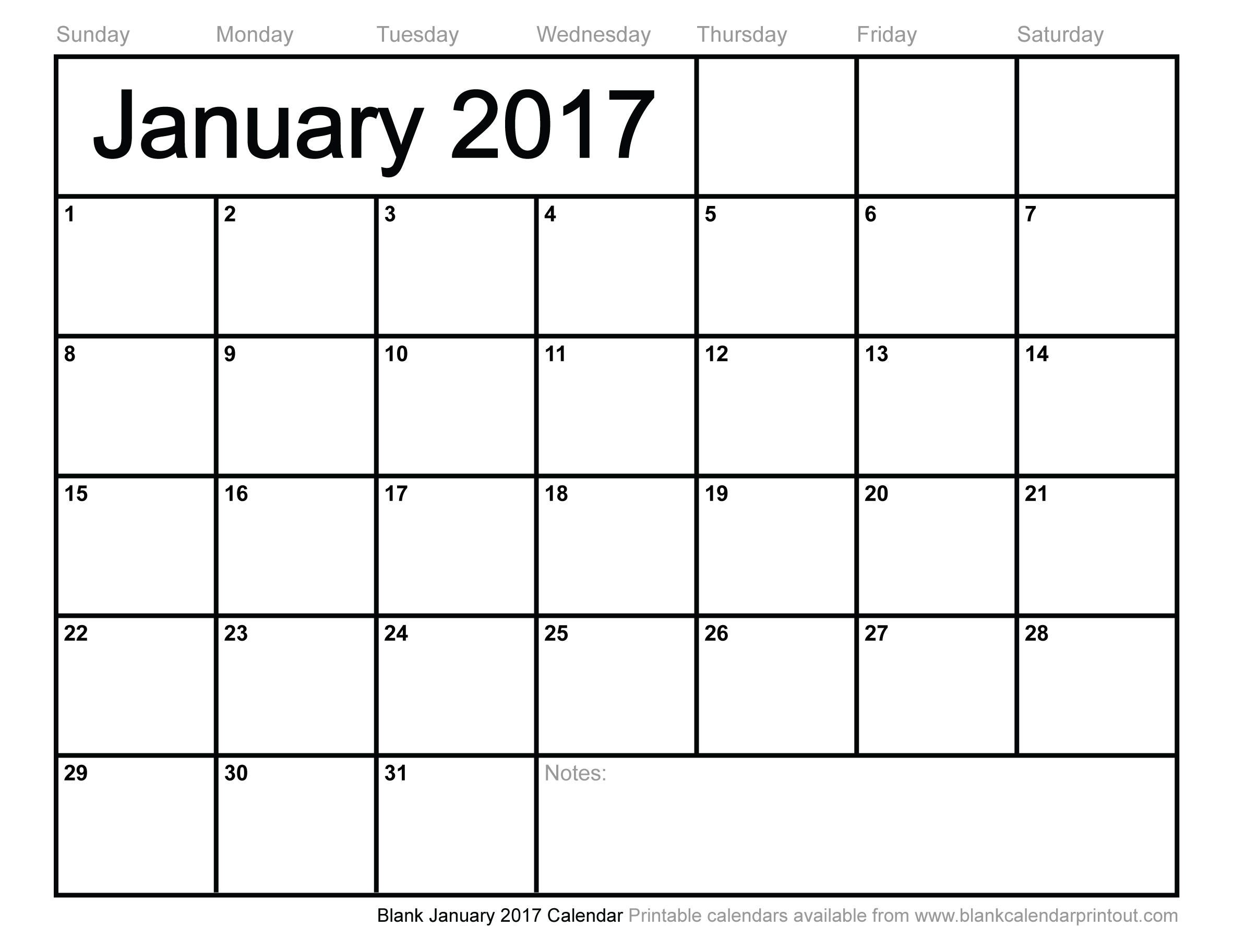 7 Images of Blank Printable Calendar 2017
