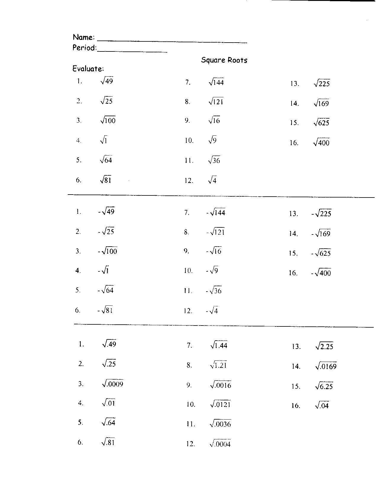 8 Best Images of Square Root Worksheet Printable - Square Root ...