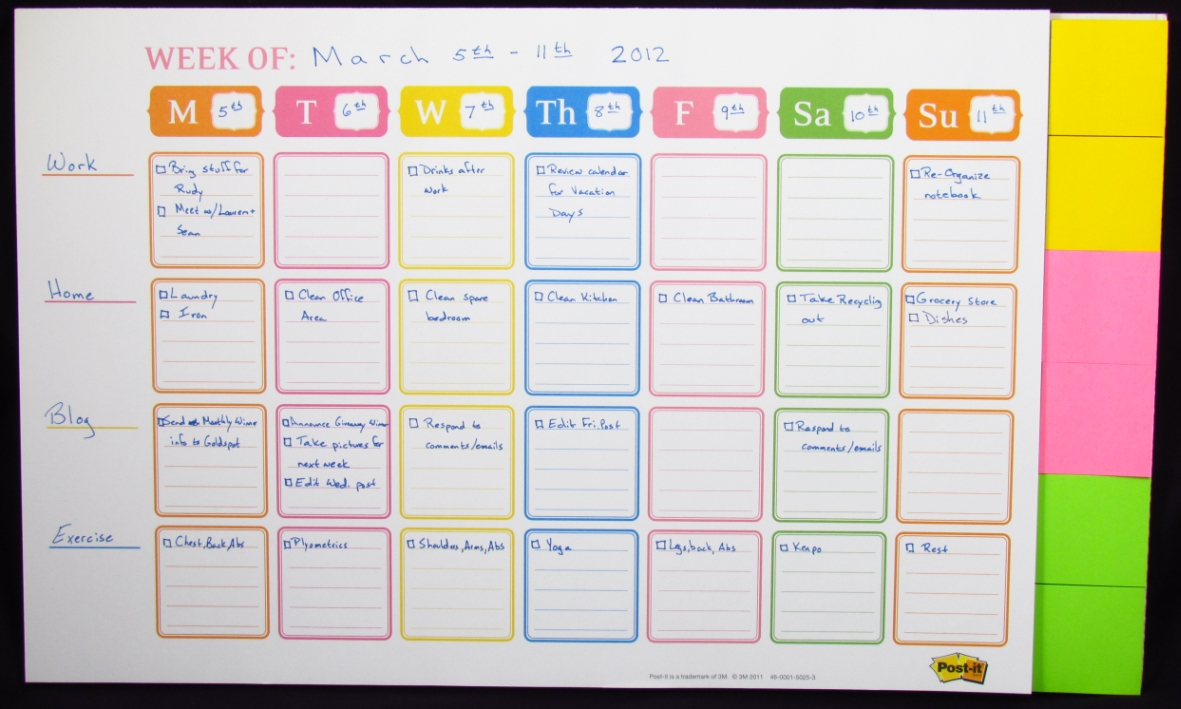 8 Images of Post It Weekly Planner Printable