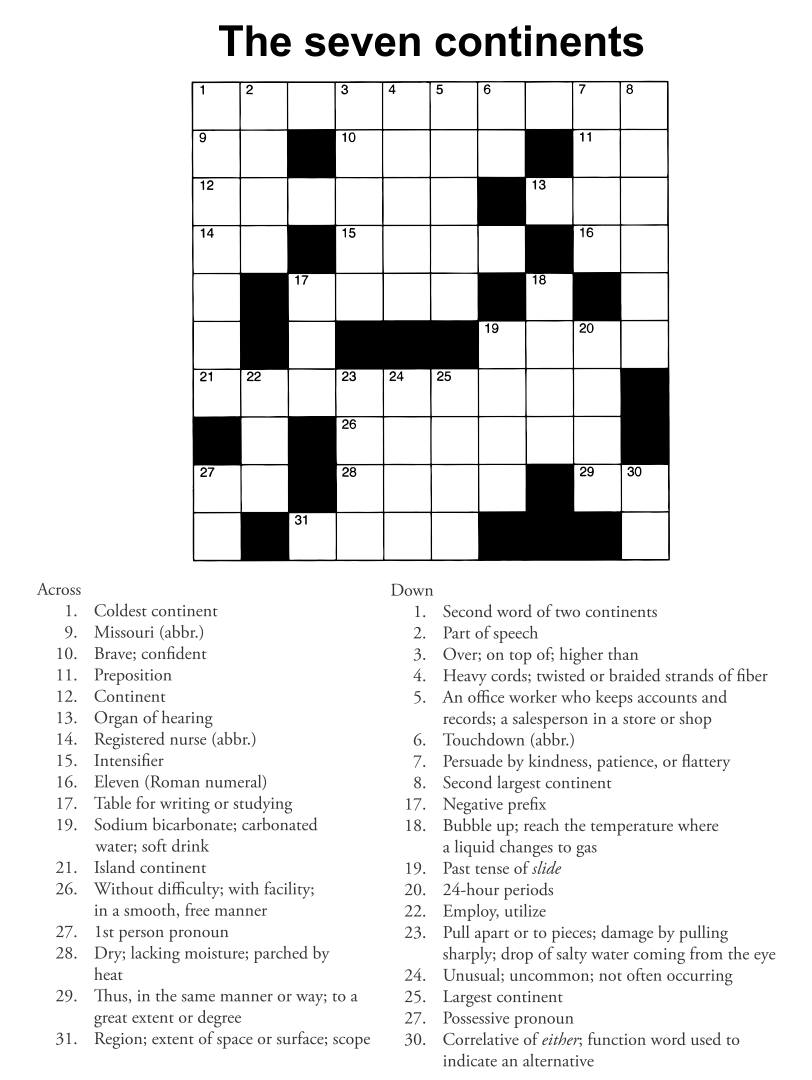 Printable Adult Crossword Puzzles