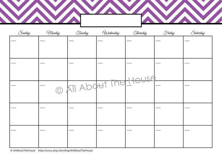7 Images of Blank Monthly Calendar Chevron Printable2016