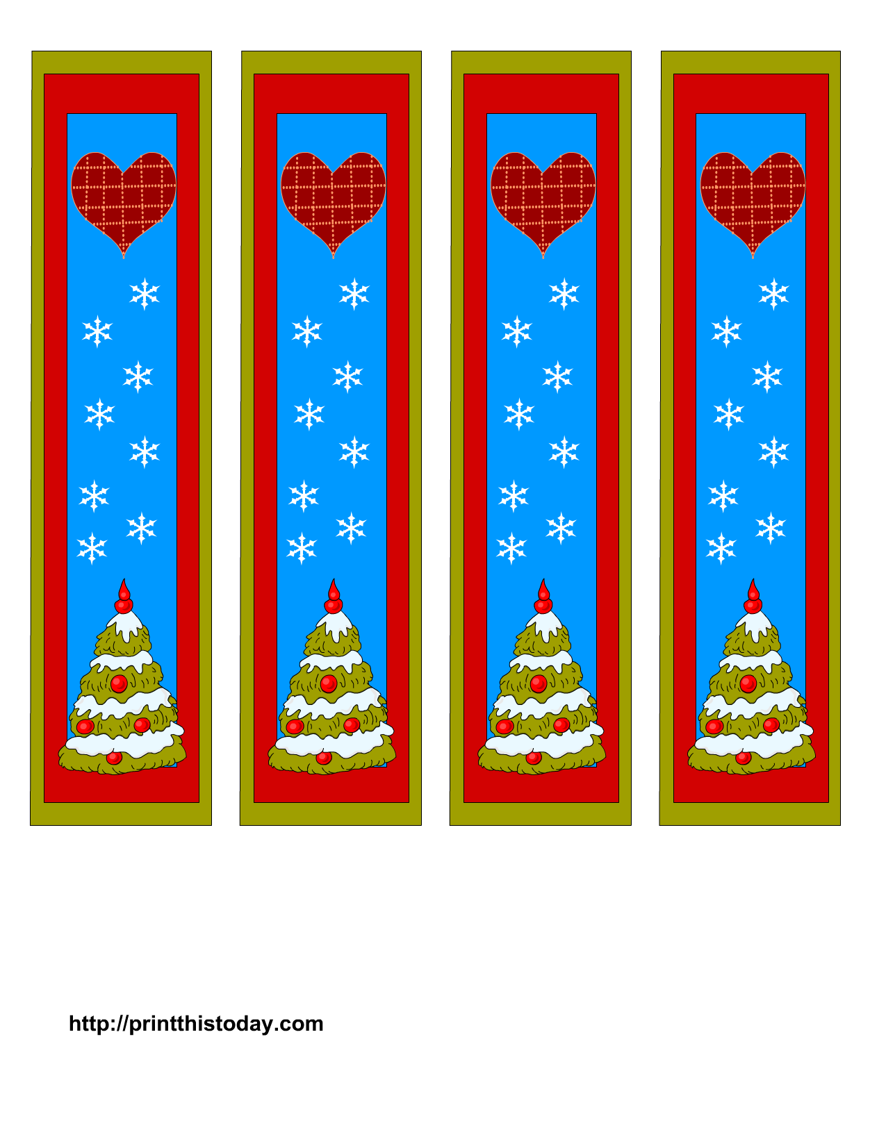 Printable Christmas Bookmarks Print