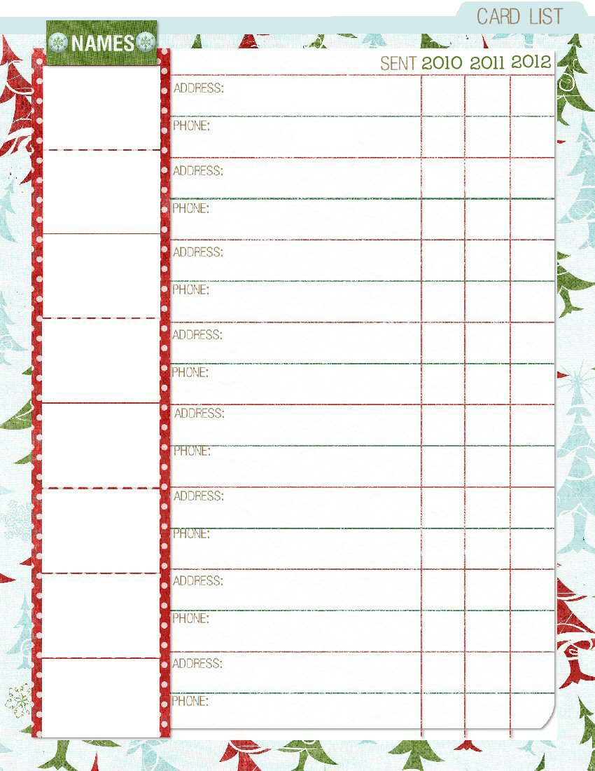 8 Images of Christmas Card Planner Printables
