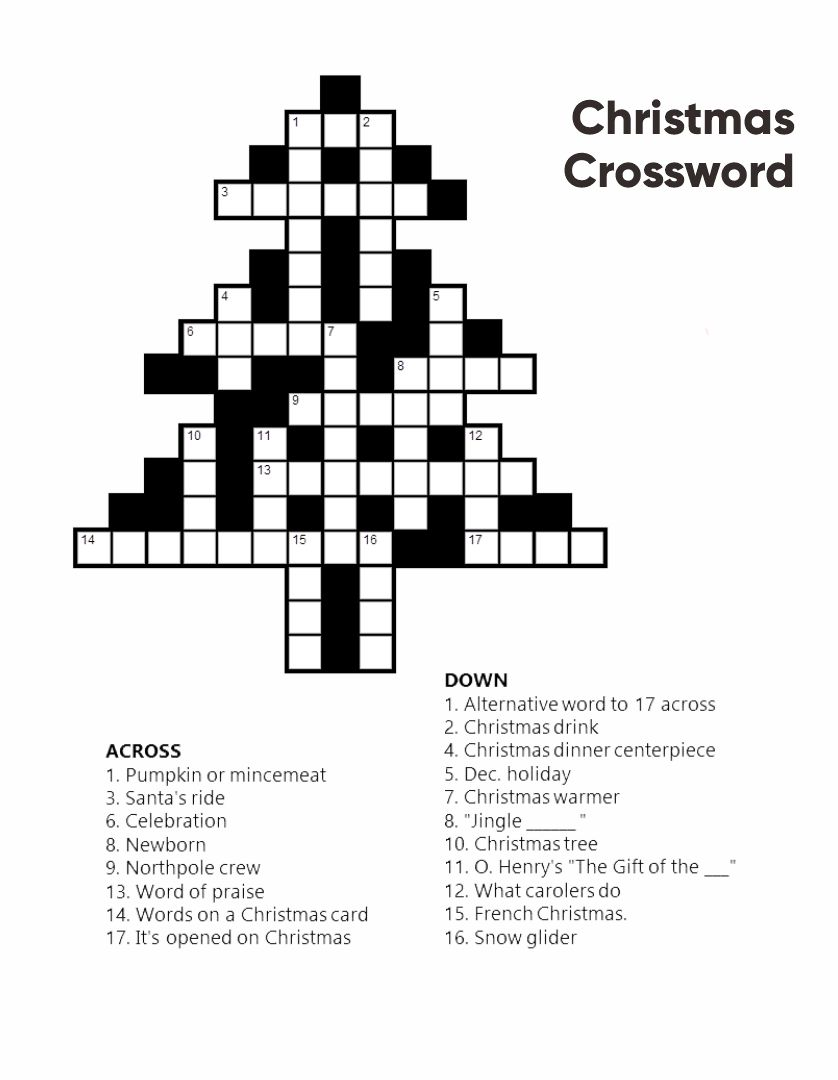 Printable Christmas Crossword Puzzles Adults