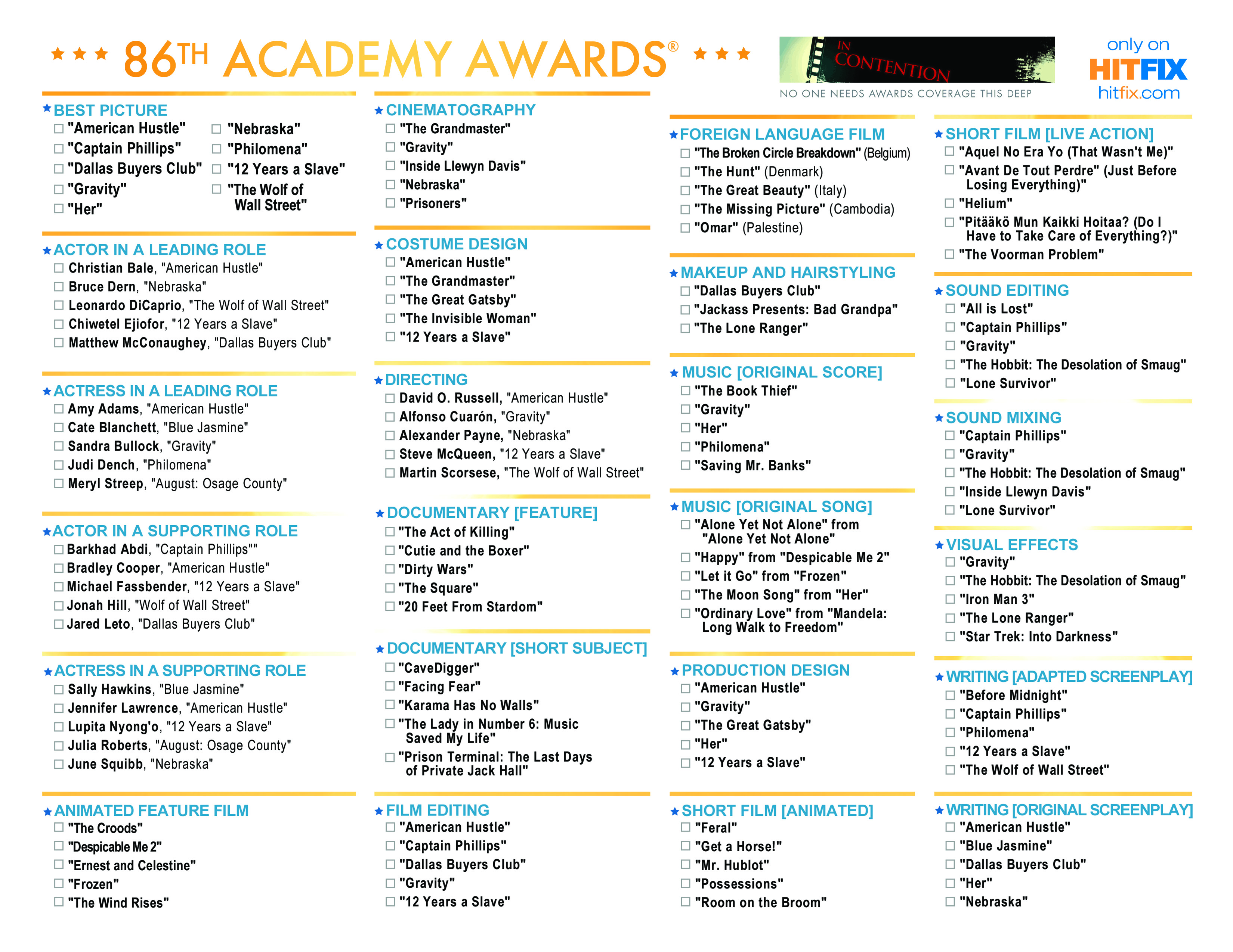 7 Images of Oscar Nominees Printable