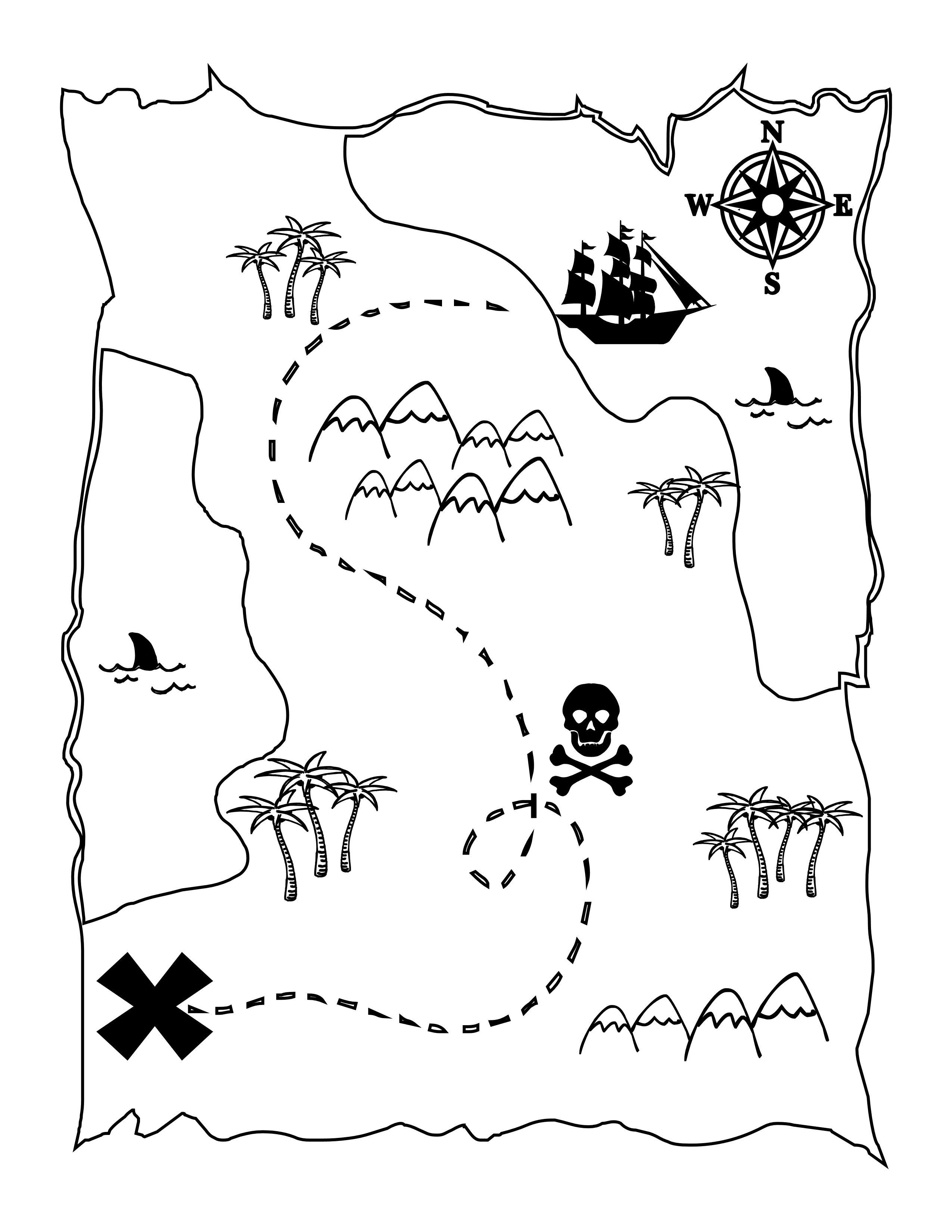 8 Images of Printable Kids Treasure Map Coloring