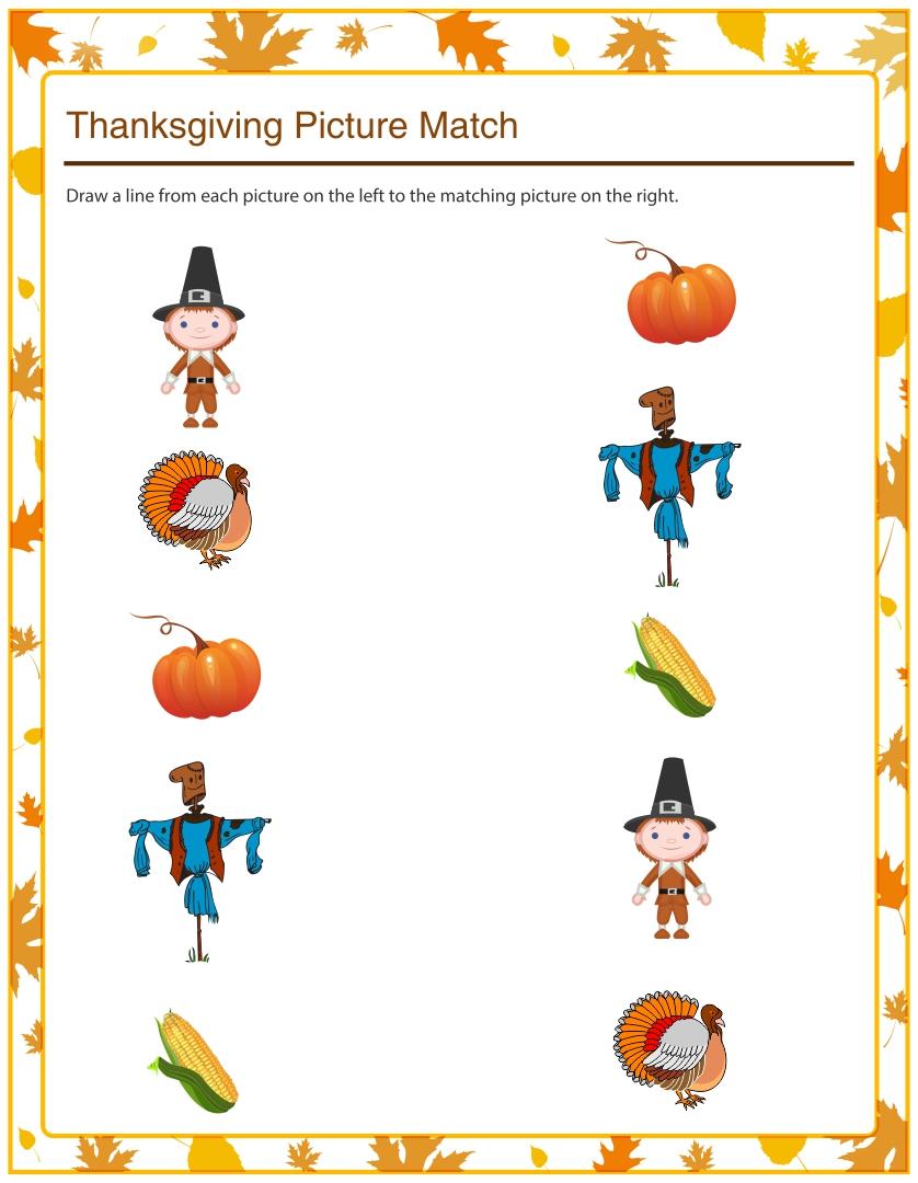 Printable Thanksgiving Matching Worksheets