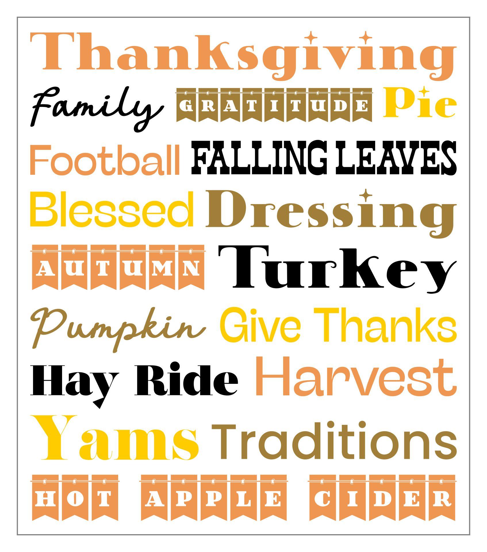 Printable Thanksgiving Subway Art