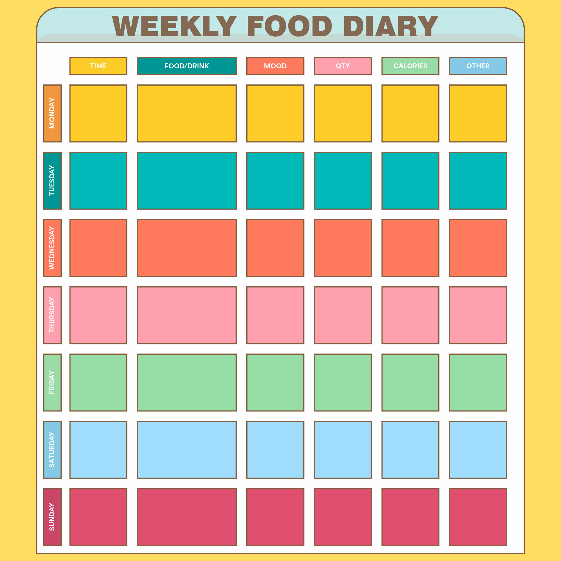 This is a picture of Food Journal Printable regarding atkins