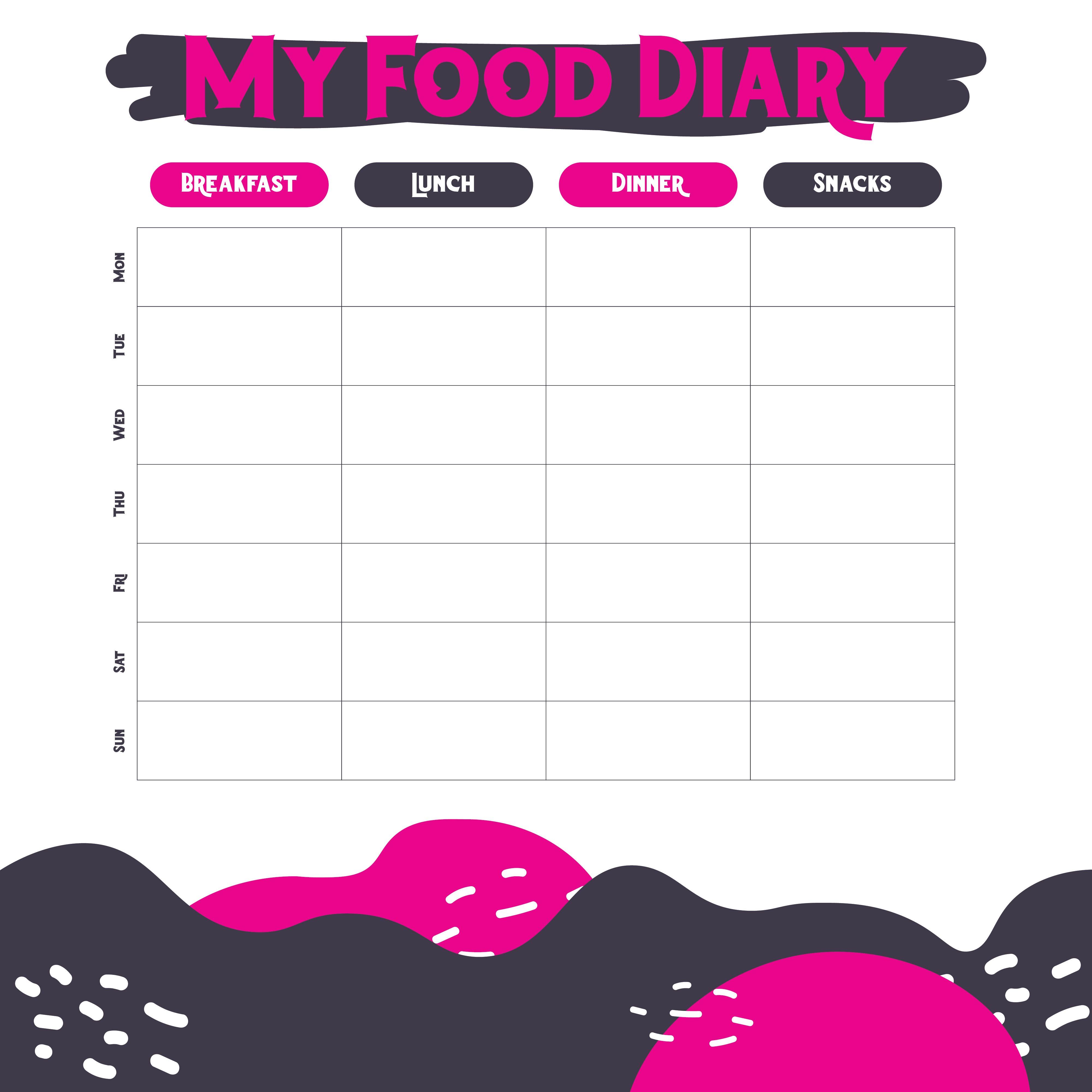Printable Weekly Food Diary