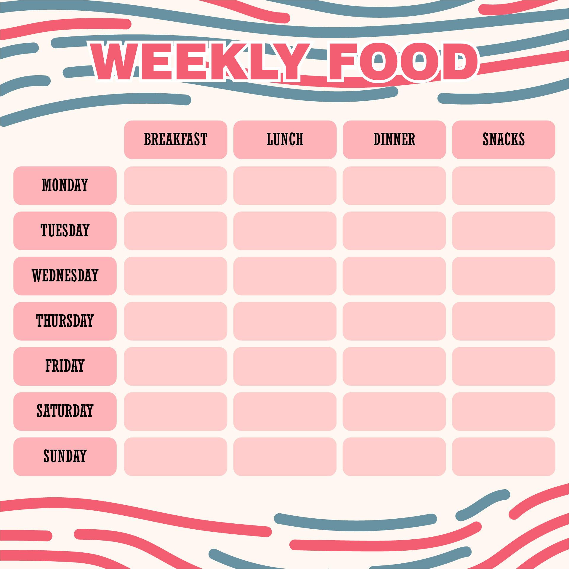 Printable Weekly Food Journal Template
