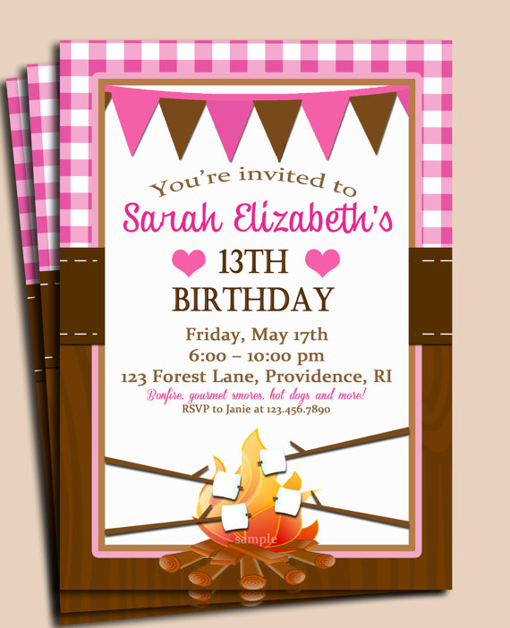 4 Images of Campfire Birthday Party Invitations Printable