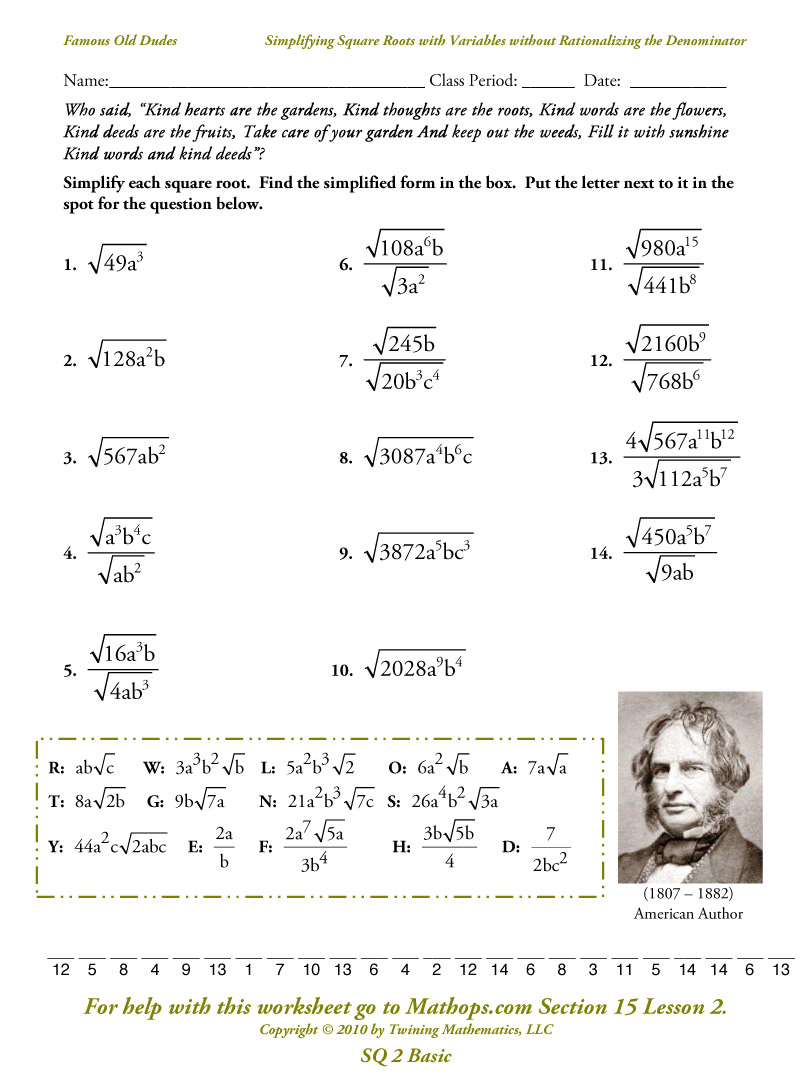Estimating Square Roots Worksheet Lesupercoin Printables Worksheets