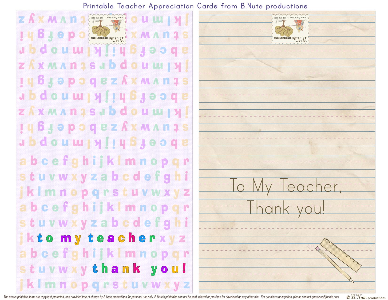7 Images of Printable Teacher Appreciation Cards