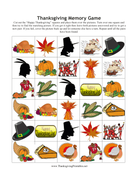 4 Images of Free Printable Thanksgiving Memory Game