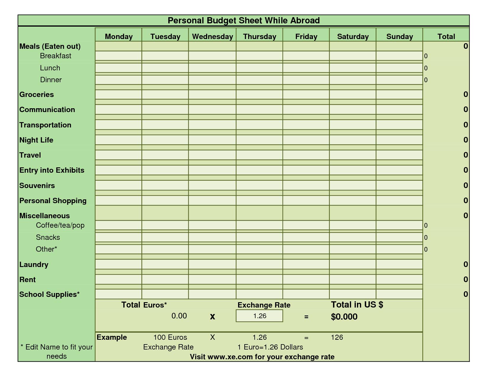 Weekly Budget Worksheet Template