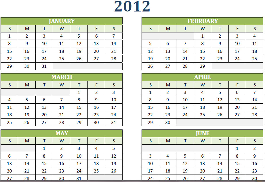 2012 Yearly Calendar Printable One Page