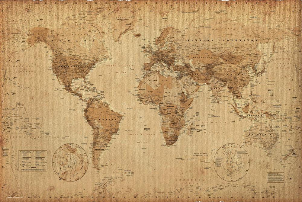 9 Images of Vintage Looking World Map Printable