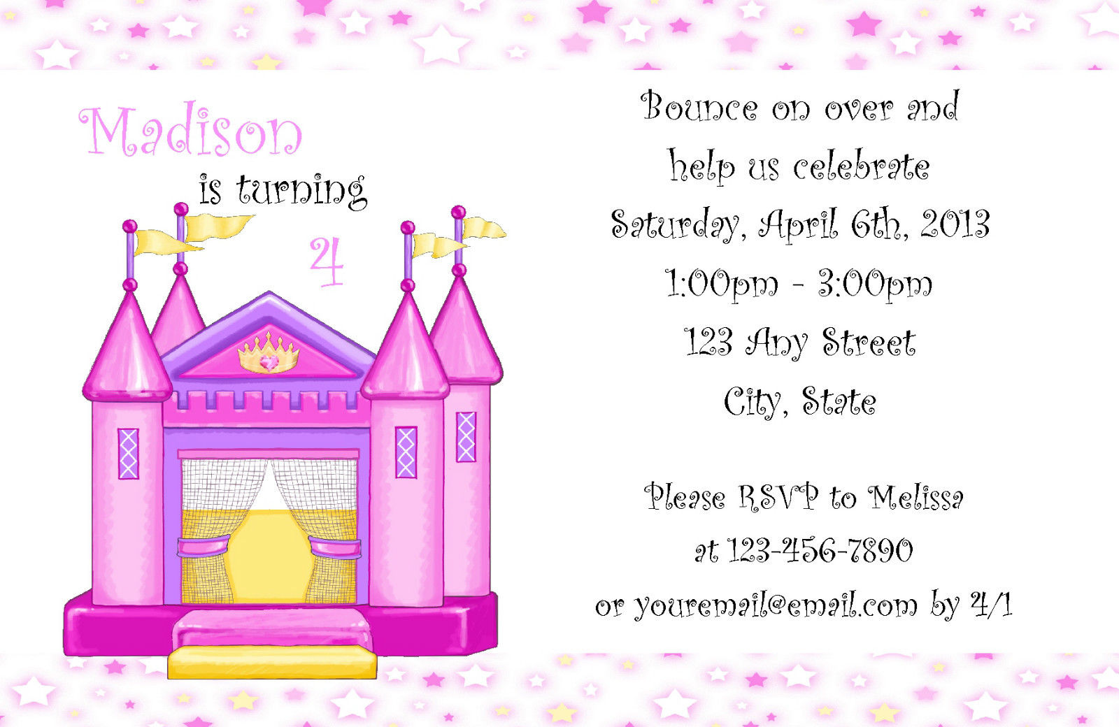 best images of castle birthday invitations printable bounce house birthday party invitation