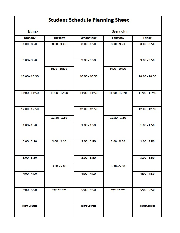 College Student Blank Class Schedule