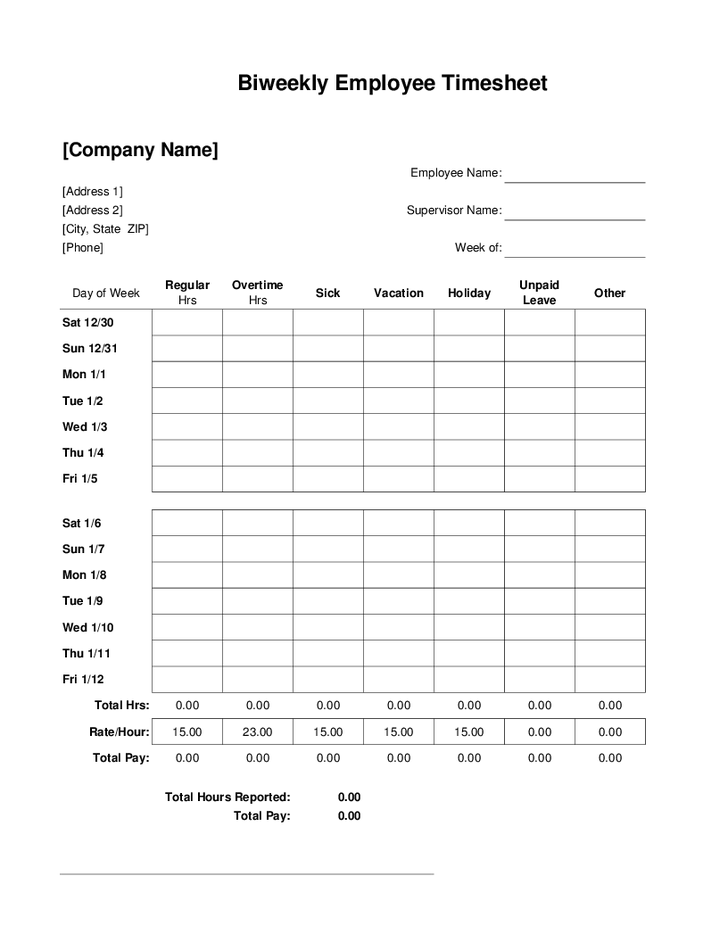 ... Free Bi-Weekly Employee Timesheet Template and Printable Blank Weekly