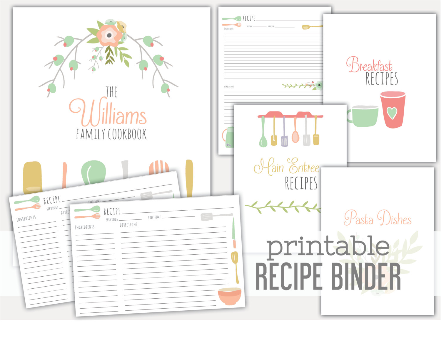 8 best images of recipe book dividers free printables for Kids cookbook template