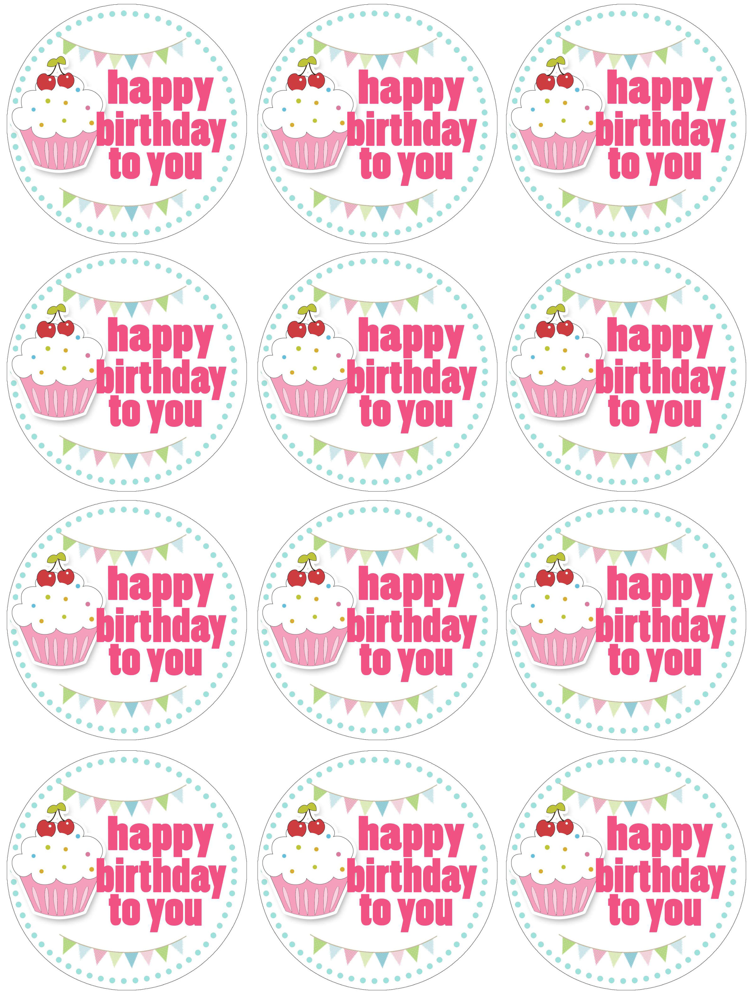Free Happy Birthday Cupcake Toppers