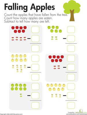 math worksheet : kindergarten apple worksheets  k5 worksheets : Kindergarten Apple Worksheets
