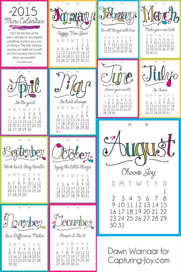 8 Images of 2015 Mini Calendar Printable Free