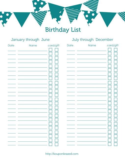 8 Images of Birthday Reminder Printable List