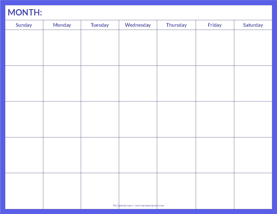 6 Images of Printable Blank Calendar Page