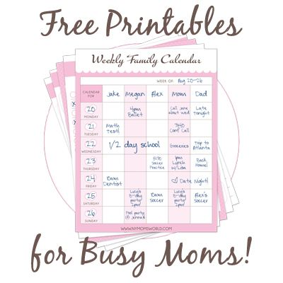 4 Images of Busy Mom Printables