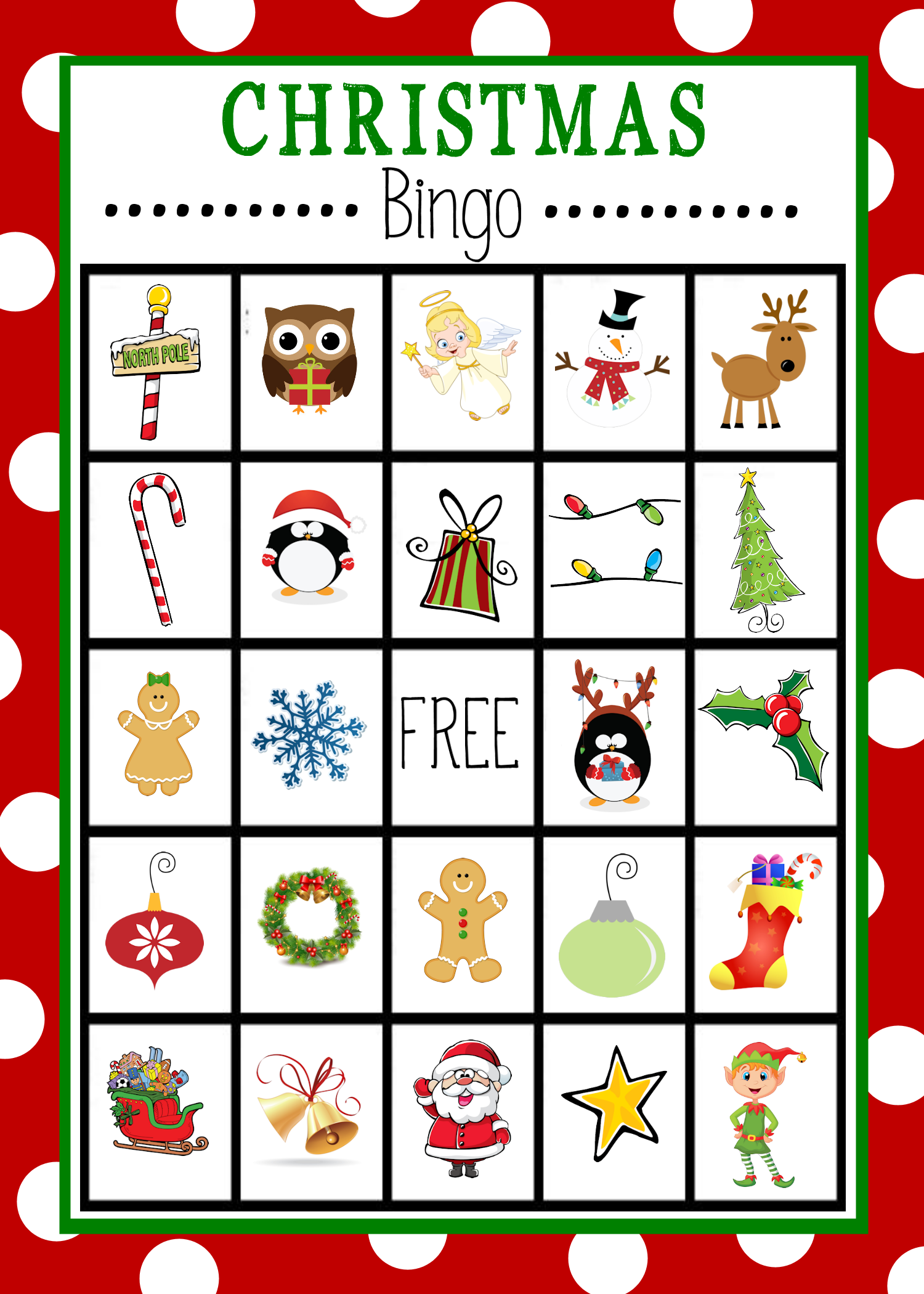 6 Images of Printable Christmas Bingo Cards