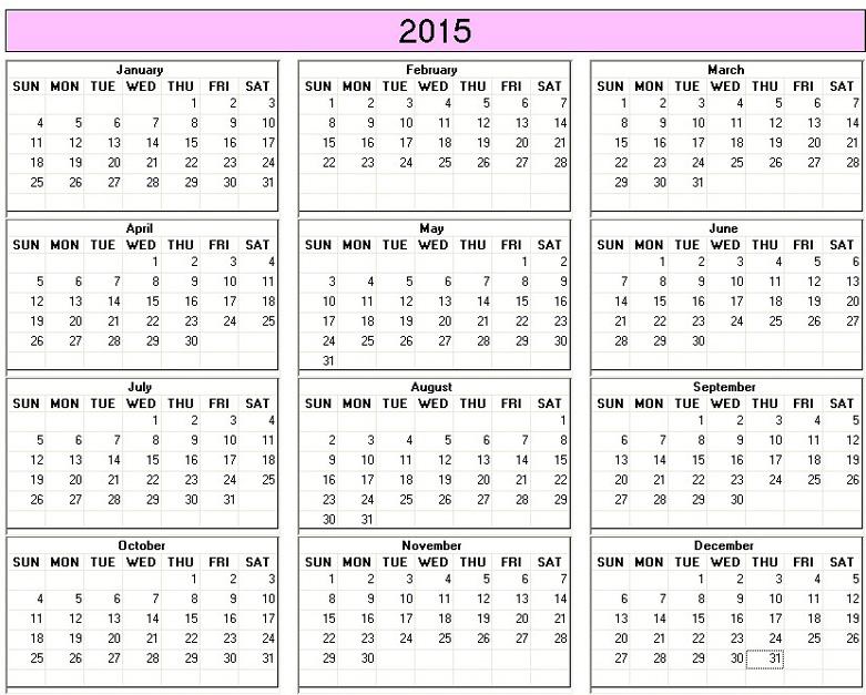 2015 Year Calendar Printable 6 best images of free printable 2015 ...