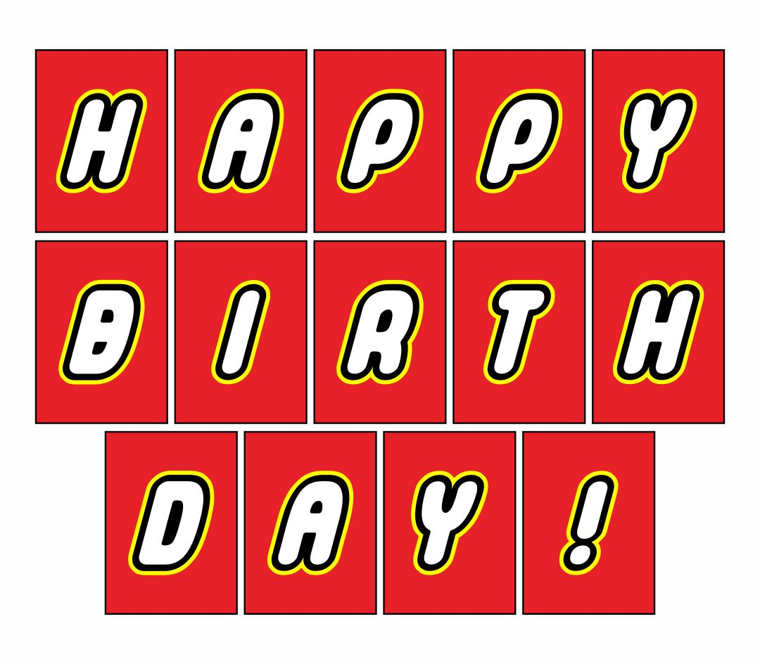 Printable Happy Birthday LEGO Banner