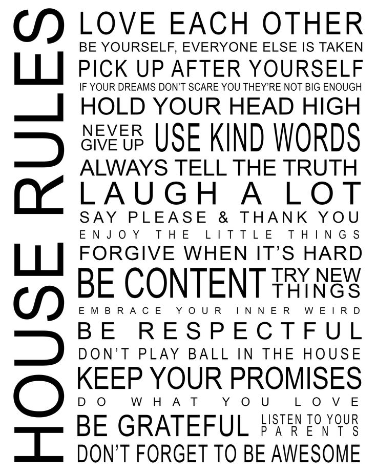 5 Images of Printable House Rules