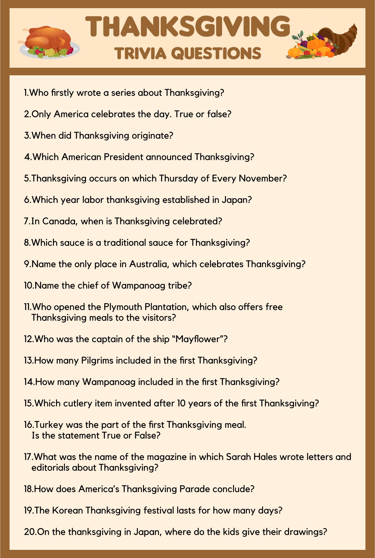 Printable Thanksgiving Trivia Questions