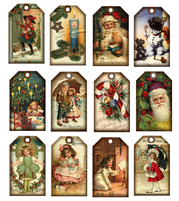 5 Images of Free Printable Vintage Gift Tags