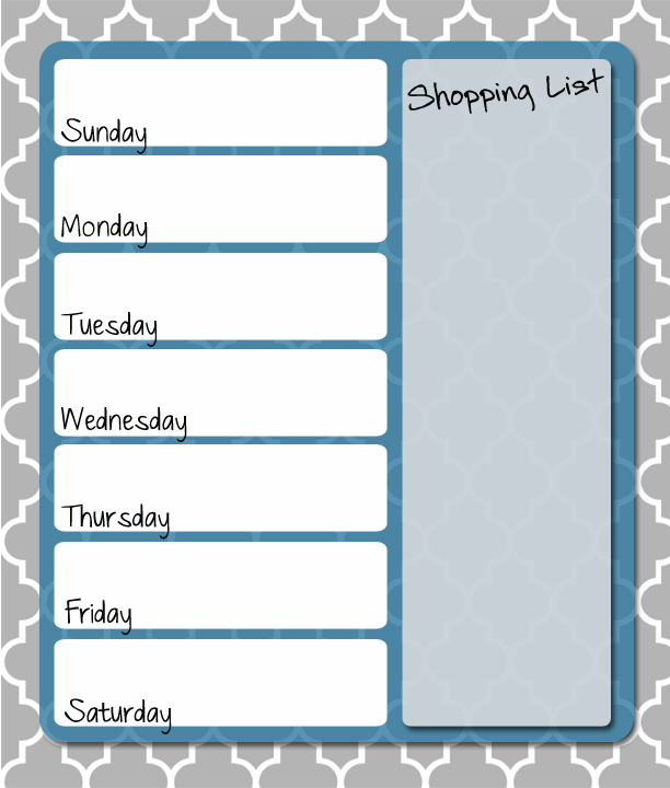6 Images of Weekly Menu Planner Printable