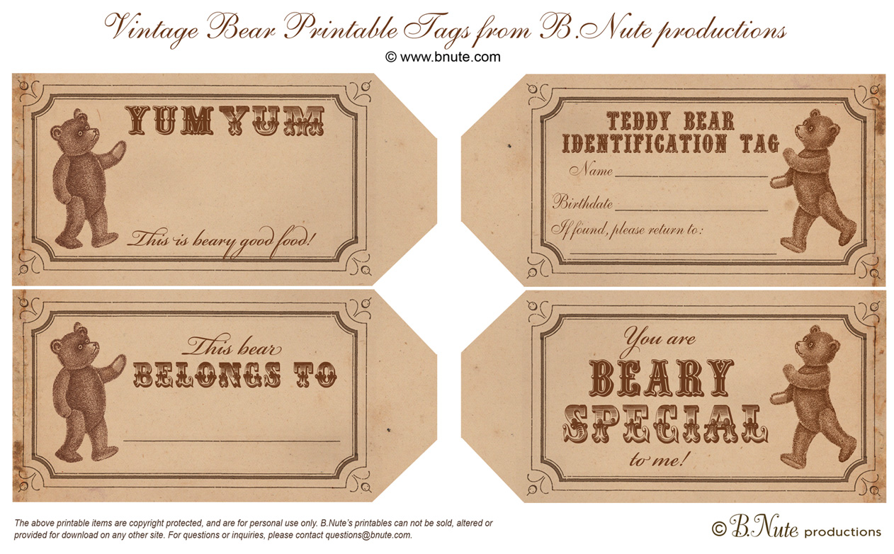 7 Images of Free Printable Bear Tags