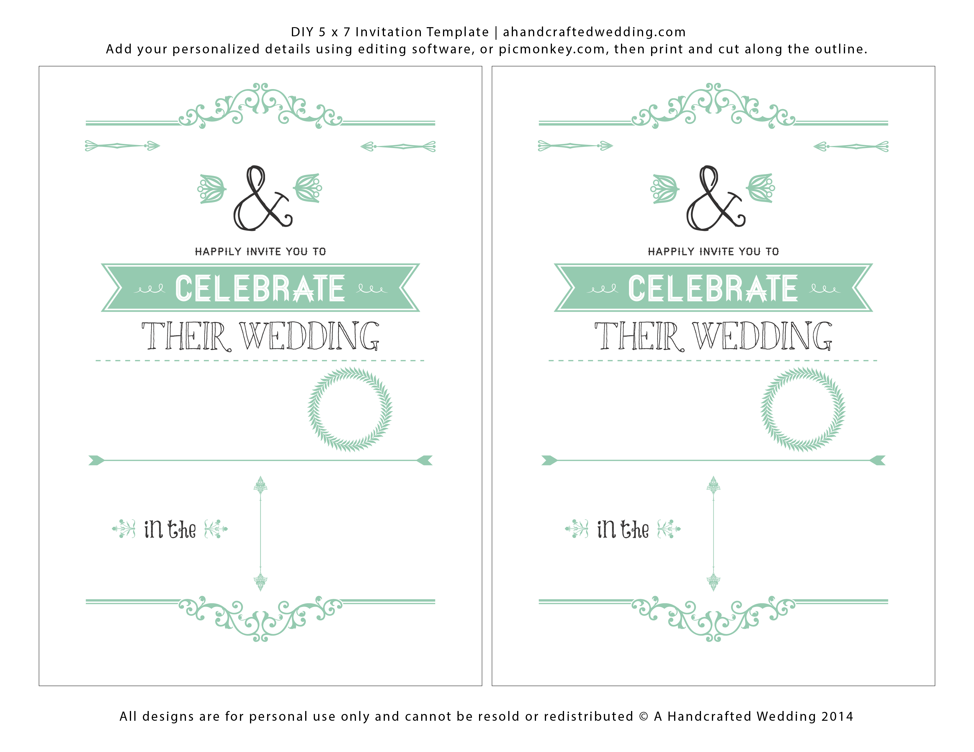 7 Images of Gold Wedding Invitation Templates Printable Free Download