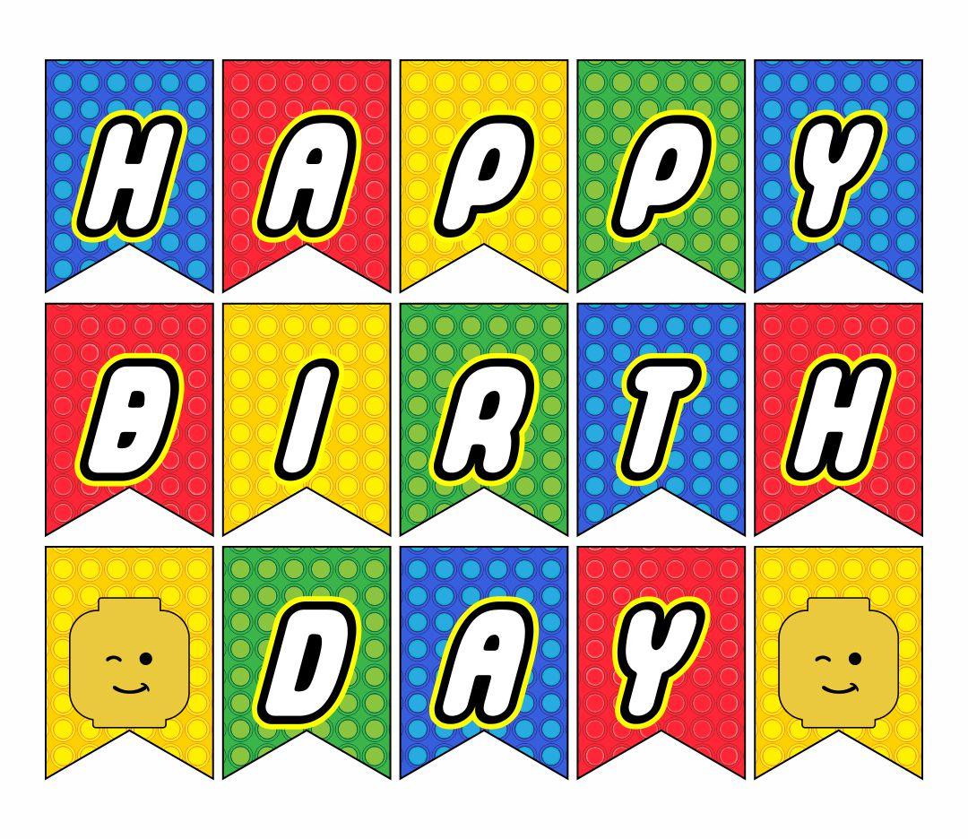 Happy Birthday LEGO Banner Printable