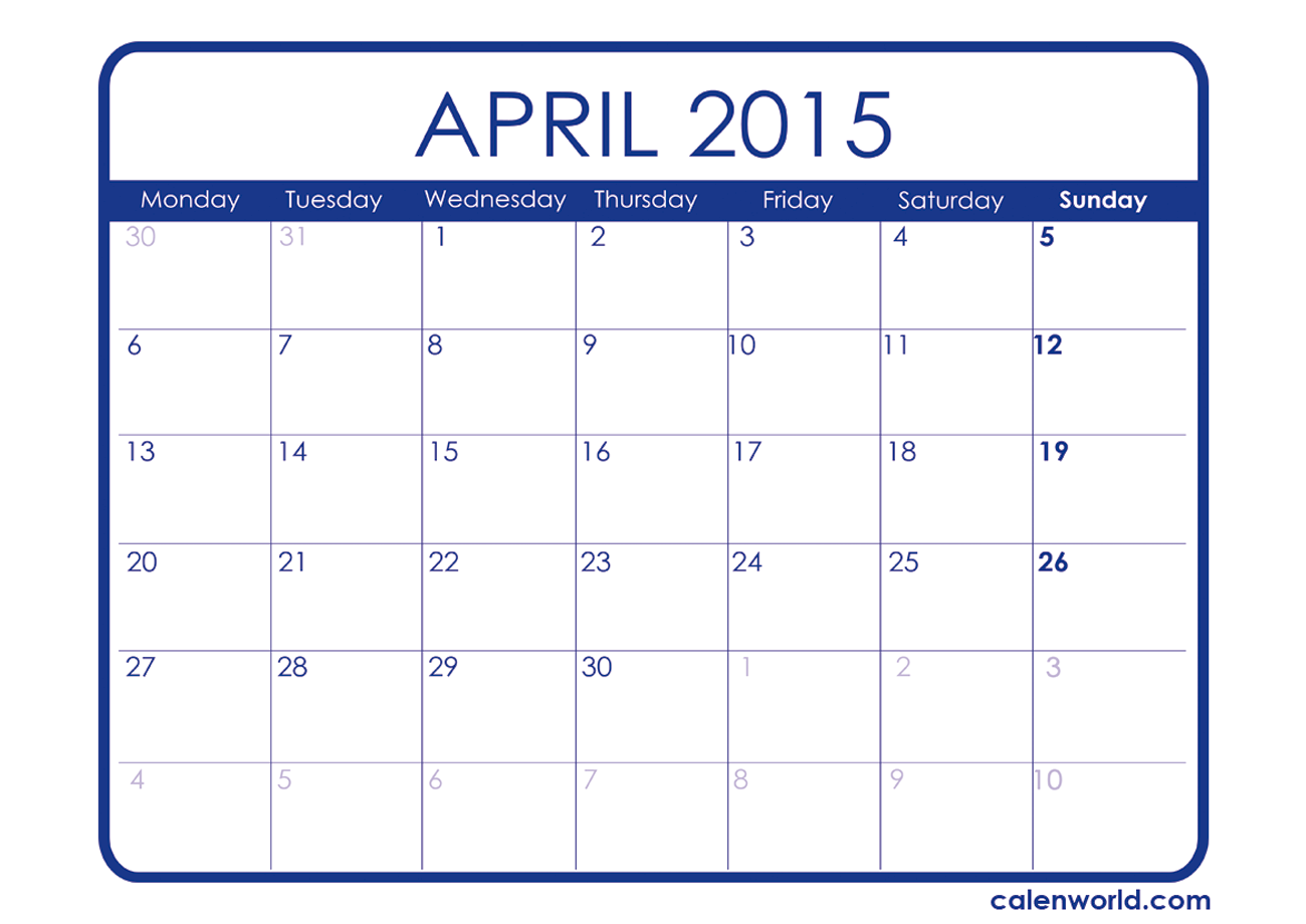 8 Images of April 2015 Calendar Printable Free
